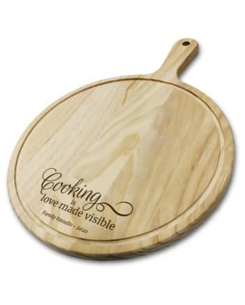"""""""Cooking is Love made visible"""" Personalised Laser Engraved Chopping Board"""